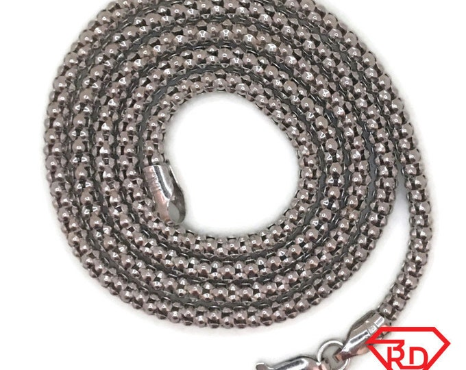 White gold layer on silver necklace Popcorn chain 18 inch