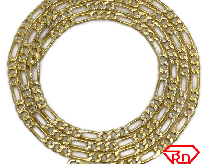 Figaro link Chain 28 inch Necklace 18K Yellow Gold Layered