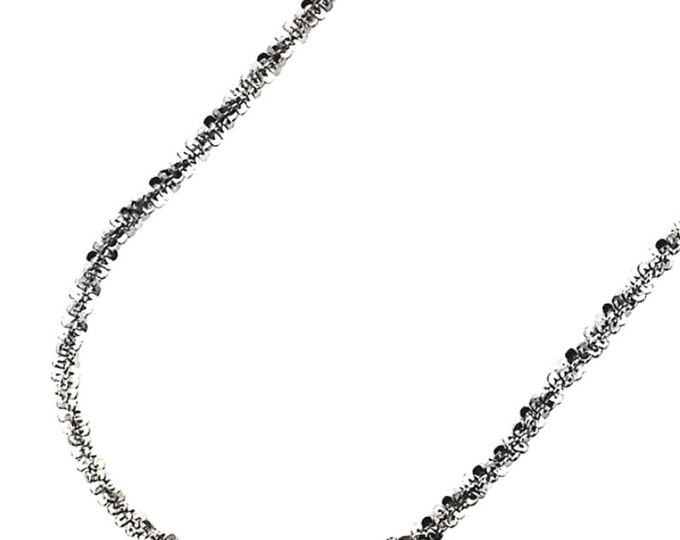 """18k white gold layered 925 Silver Popcorn Sparkle Rock Italian Necklace Chain- 2 mm 20 """""""
