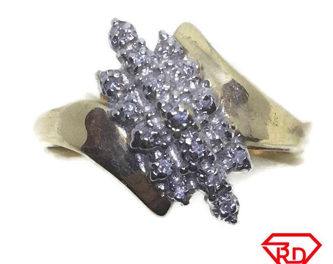 Unique Shape Diamond ring 10k Double gold S7