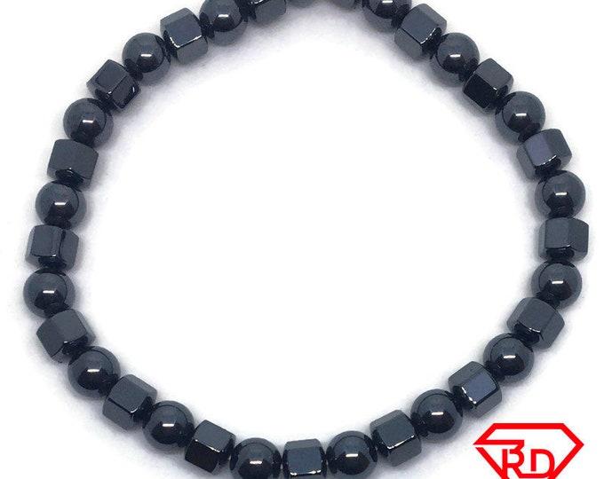 Magnetic Hematite Black Block Beads Elastic Bracelet