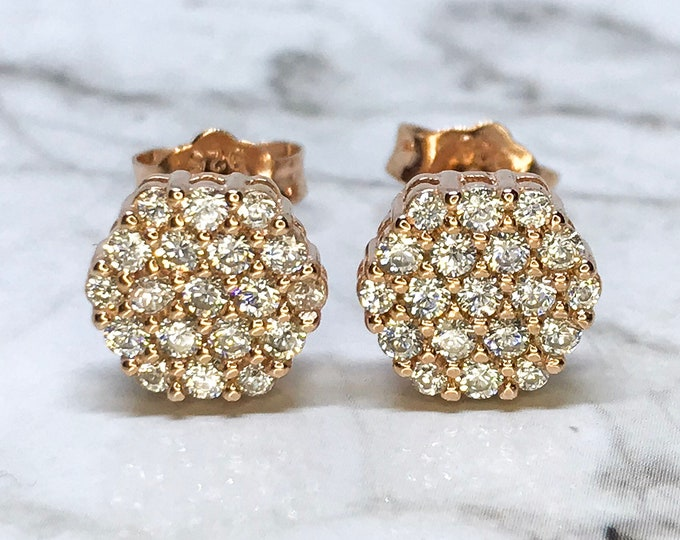 NEW 14K Rose Gold Layered on Sterling Silver Hexagon with Stones Stud Earrings