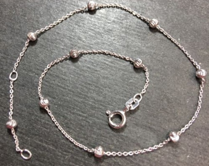 """Brand new 925 sterling silver handset beads and cable anklet link 0.5mm 9""""-10"""""""