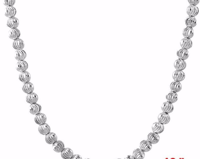 """18k w gold layered over 925 sterling silver beaded bling moon cut chain 3 mm 16"""""""