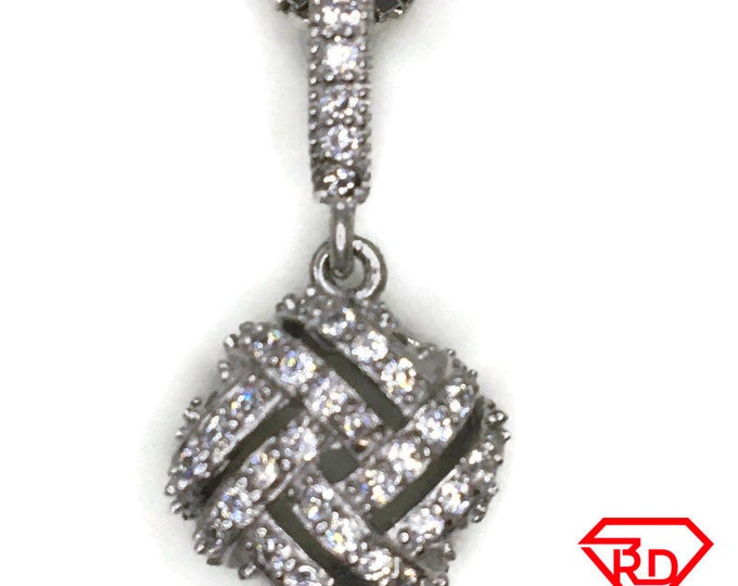 Cubic Zirconia square knot charm pendant white gold on silver
