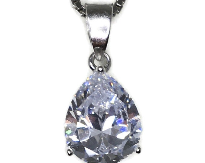 small 3 prong basket white teardrop CZ White Gold layer Silver Pendant