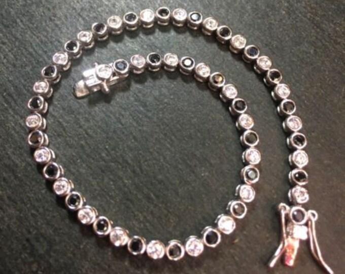 14k gold layer on sterling silver 2ct -black cz tennis link chain bracelet 3.1mm
