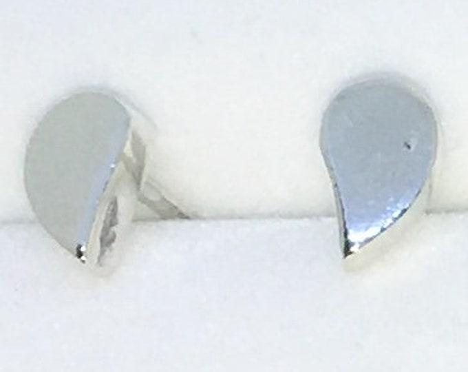 New Handcraft Tear Drop on 925 Solid Sterling Silver Stud Earrings ( 4 . 4 mm )