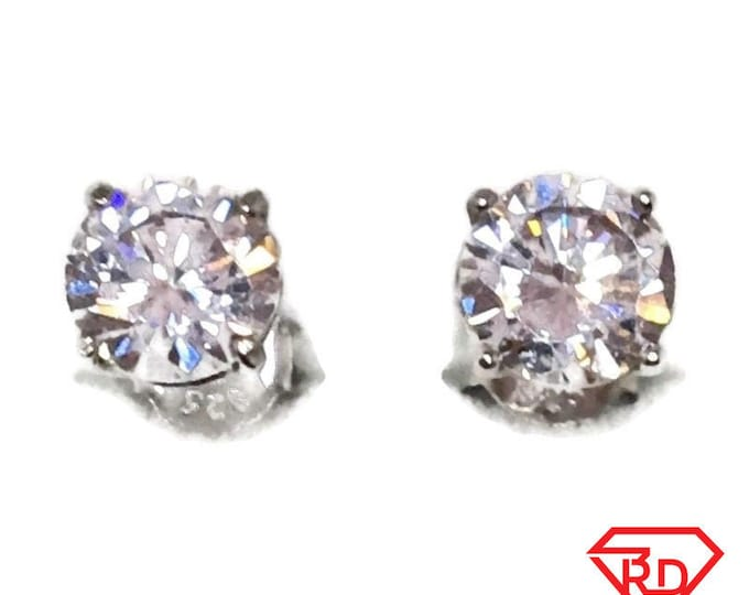 Brand New white gold on 925 Silver Studs Earrings Four Prong Basket with white round CZ ( 6 . 0 mm )