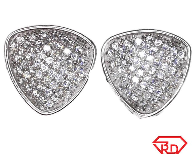 Cubic Zirconia Stud Earrings round triangle White Gold on Silver