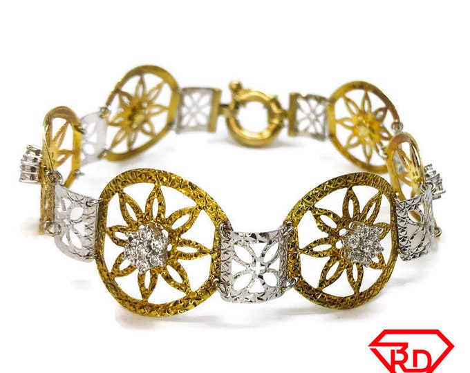 NEW 14k White And Yellow Gold Layer On 925 Silver cz Thin Round Floral Link Bracelet 4.9 mm - 8""
