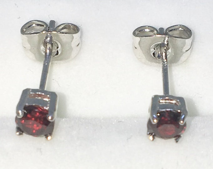 New White Gold on 925 Solid Sterling Silver Single Small Dark Red Round CZ Studs Earrings ( 3 . 9 mm )