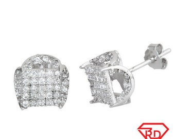 Stylish Square front U shape sides CZ .925 Sterling Silver Stud Earrings