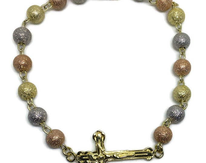 sand blast beads & cross 3 tone gold layer on Silver rosary bracelet