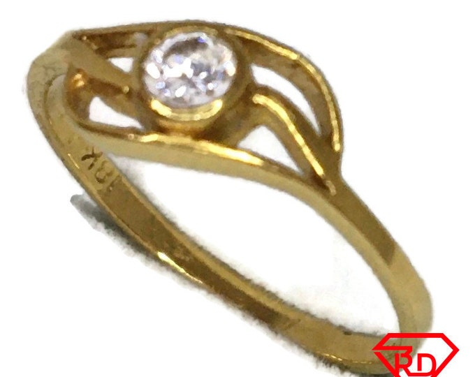 18K tiny ring cubic zirconia and yellow gold
