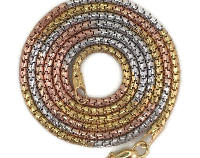 """Three tone gold layer on silver necklace round snake-like chain 18"""""""