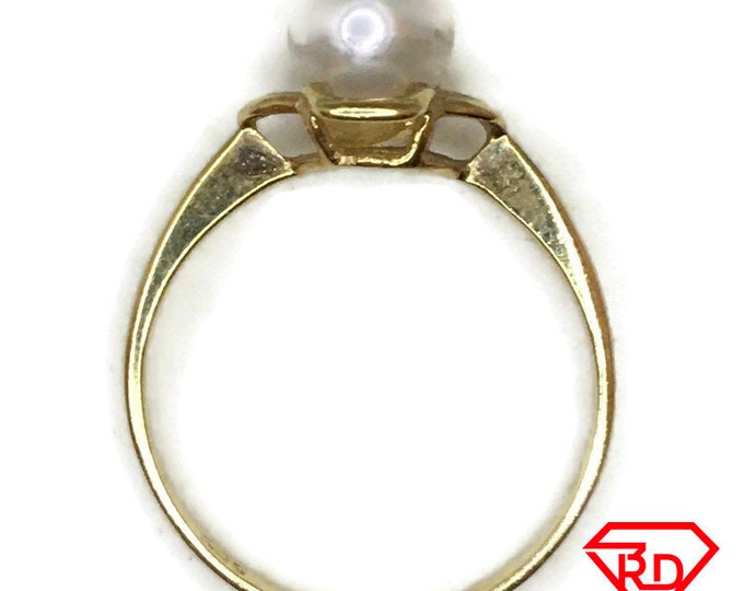 14K tiny cute ring round pearl and yellow gold