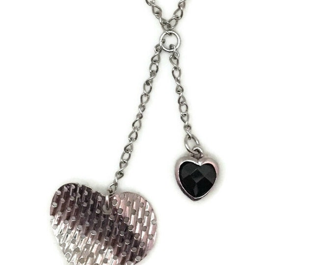 White Gold layer Silver Pendant double heart & black heart CZ