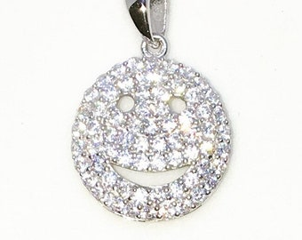 Brand New White Gold on 925 Sterling Silver Pendant Emote Smiley Face with round white CZ ( 14 . 5 mm )