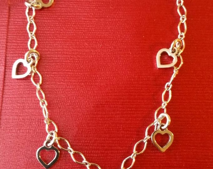 18k white gold layer on Solid 925 Sterling Silver dangling stylish heart charms bracelet