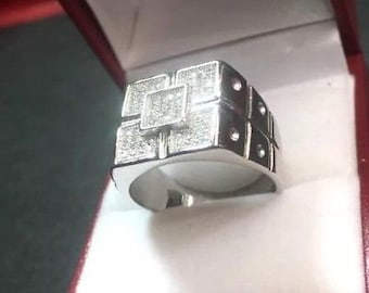 New wide cubic zirconia handmade 14k layer on 925 silver men square ring size-9