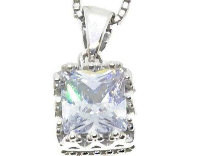 New White Gold on Silver Pendant Square Princess white CZ free chain