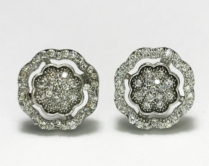 NEW .925 Sterling Flower Halo with Stones Earrings