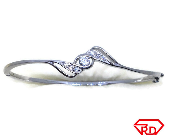 Round CZ curvy bangle bracelet white gold layer