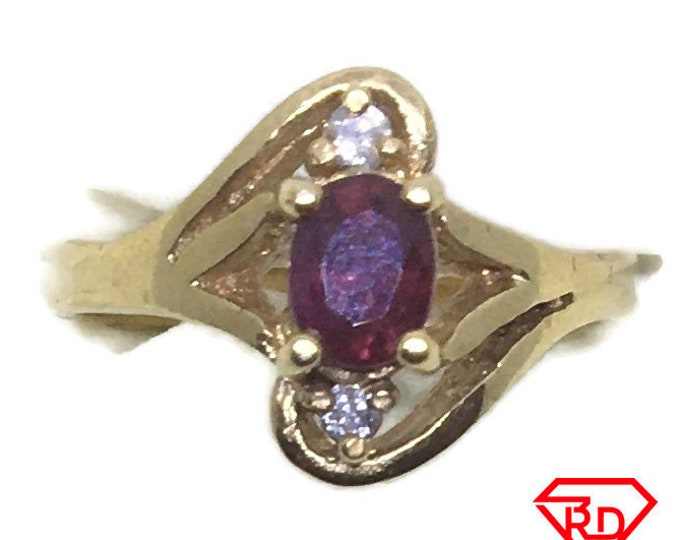 Four prong Ruby & diamond ring 14k yellow gold S6