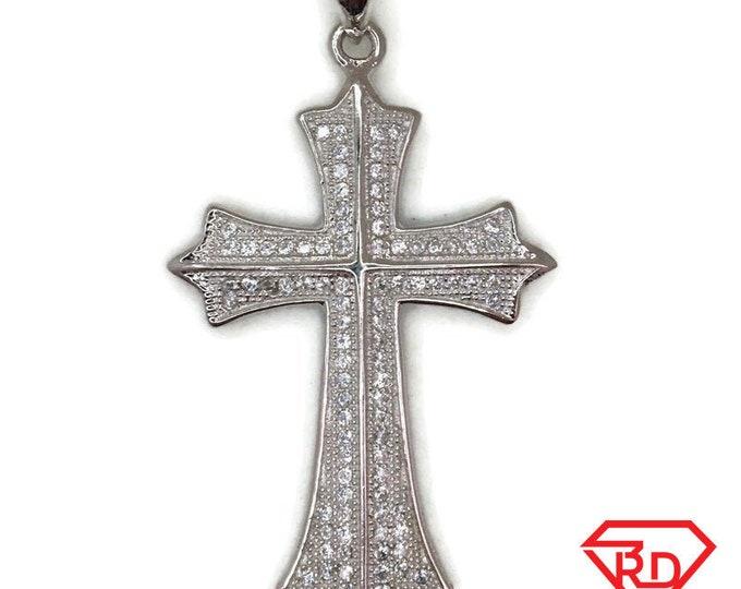 White Gold layer Silver Pendant new coptic Cross & white round CZ