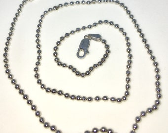 Brand New White Gold on 925 Solid Sterling Silver 16 inch Plain Smooth Bead chain Necklace with Lobster Claw Clasp