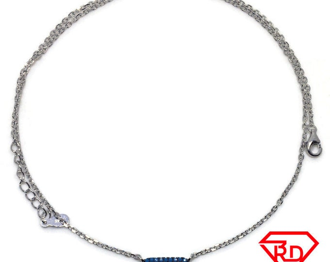 Tiny Blue CZ Necklace 18 inch chain white gold on silver