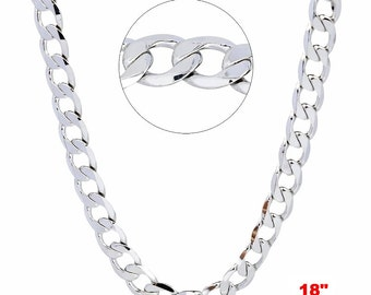 14k White gold Layer on Solid 925 Sterling Silver Curb Chain- 3.2 mm- 18""
