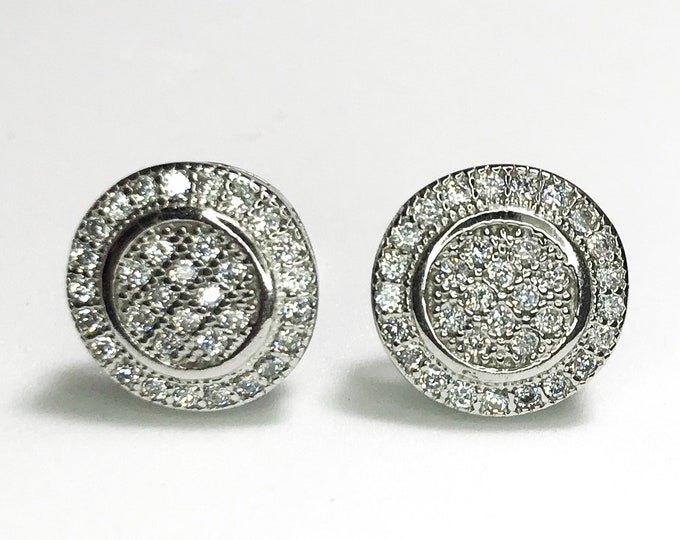 NEW Layered 14K White Gold on Sterling Silver Circle- with Stones Stud Earrings