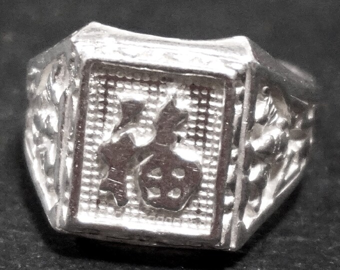 Anti Tarnished 9 2 5 Sterling Silver Luck Chinese Character Men's Ring ( Size : 8 . 7 5 )