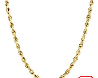 Italian 14k yellow gold layer on .925 Sterling Silver Classic Rope Chain 1.5 MM 22 ""