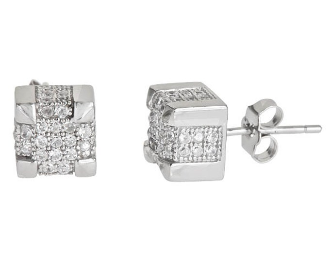 Men Square Bling Micro Pave CZ Stud Earrings