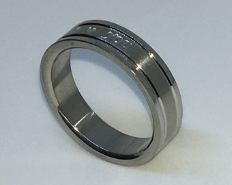 5 . 9mm Size 9 Brand New White Gold Plated withI Love You print on Stainless Steel ring band