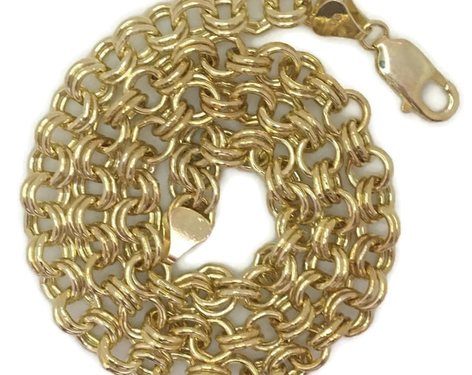 Yellow gold layer on silver necklace double ring chain 18 inch
