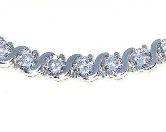 New White Gold Layered 925 Solid Sterling Silver 7 inch Curve design Round White CZ Tennis Bracelet with Box Clasp