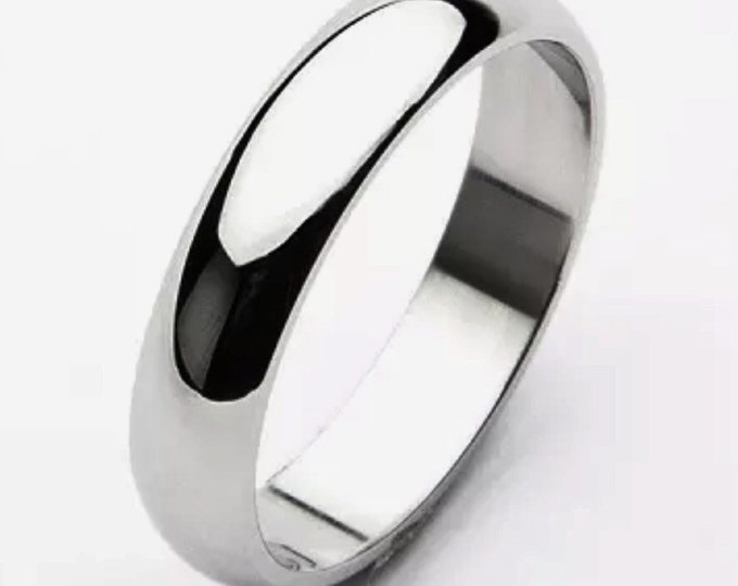 4 mm size 8 - handmade solid 990 silver high polished glossy plain wedding ring band