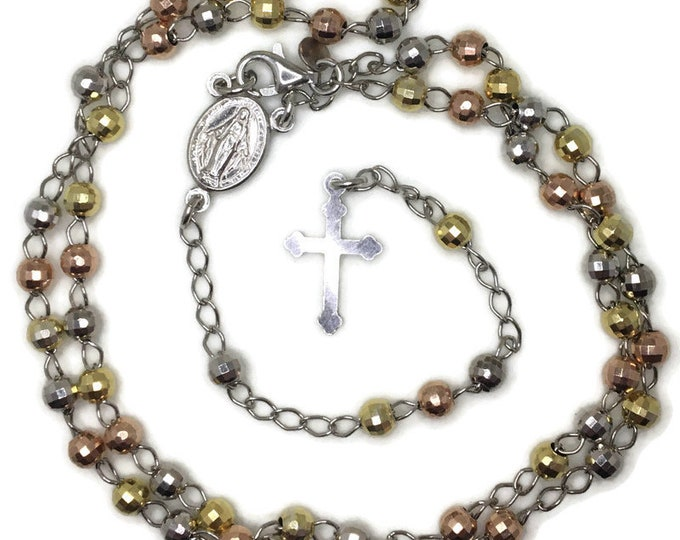 Rosary small disco beads and cross on 3 tone gold layer solid silver