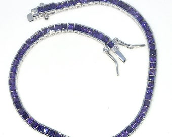 New White Gold Layered 925 Solid Sterling Silver 7 inch Bezel Princess Purple CZ Tennis Bracelet with Box Clasp