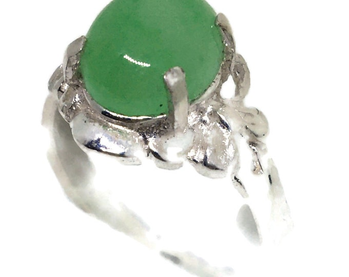Oval Jade ring Anti-Tarnish Silver Band (Size 7)