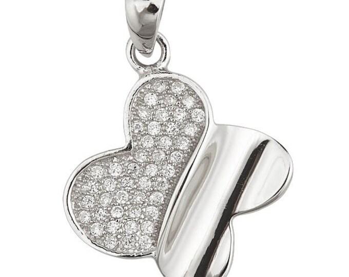 Glittering Micro Pave CZ 18k Sterling Silver Butterfly Pendant