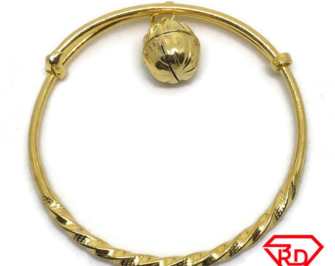Bell charm Twisted slip in Baby Bangle .999 Yellow Gold Layer