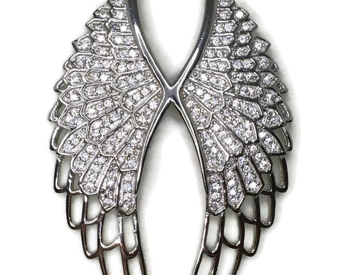 Cubic Zirconia angel wings pendant with white gold on silver