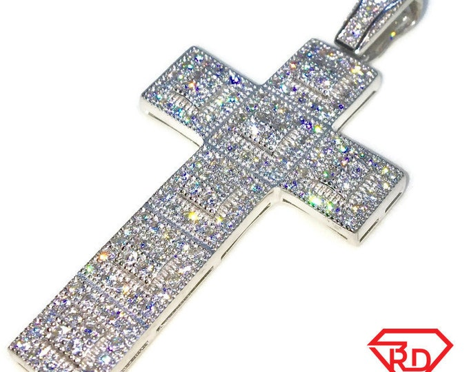 New White Gold on 925 Sterling Silver Pendant Unfolded Cube Cross with round white CZ ( 27 . 8 mm )