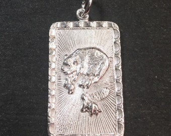 """Medium Size New 925 silver Reversible Design Chinese character writing """"Happiness"""" &  Year is the Pig Zodiac Charm Pendant"""