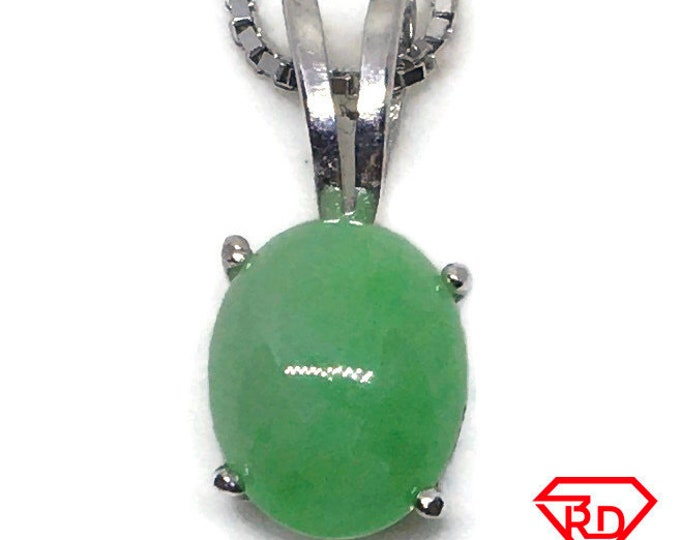 small Oval Jade Pendant white gold on silver and free chain